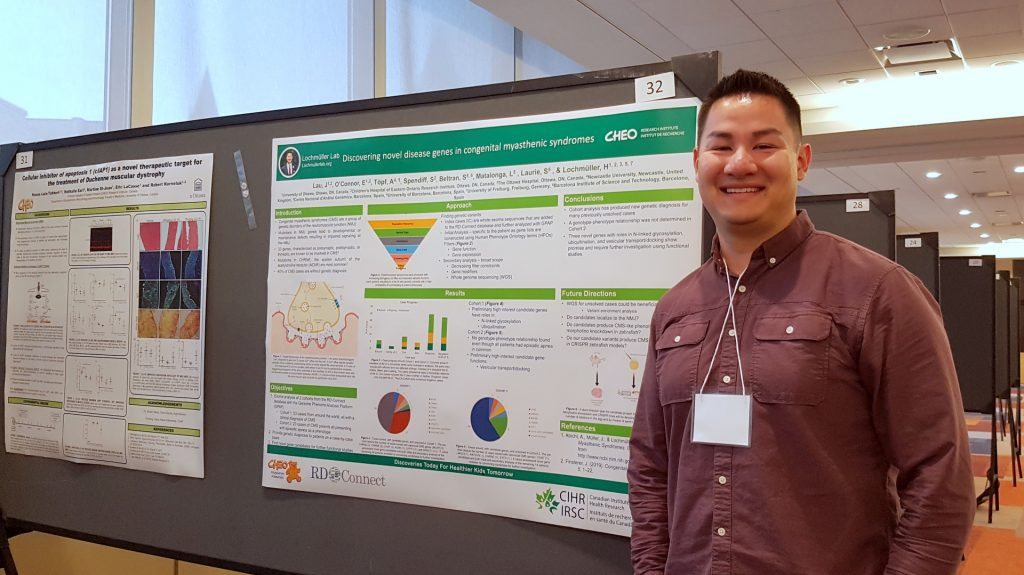 Jarred with his CMS gene discovery poster at OttawaNMD 2019